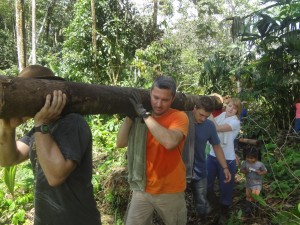 Carrying pambil palm logs to build Ninawachi bus stop