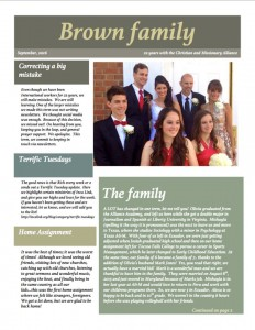 Brown family newsletter